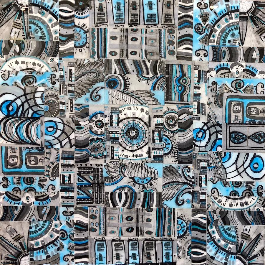 Blue Aztec 18x18